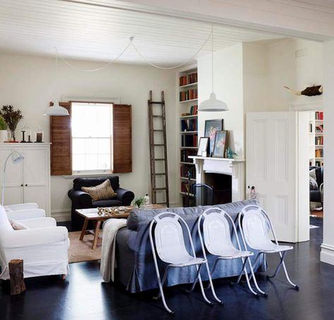 "I like the simplicity of the plain ladder for access (in this room, anyway) and I like that I can see another bookcase in the next room!  From ""desire to inspire -- Down on the farm"" -- see another room from this house here: http://pinterest.com/pin/175218241725069291/"