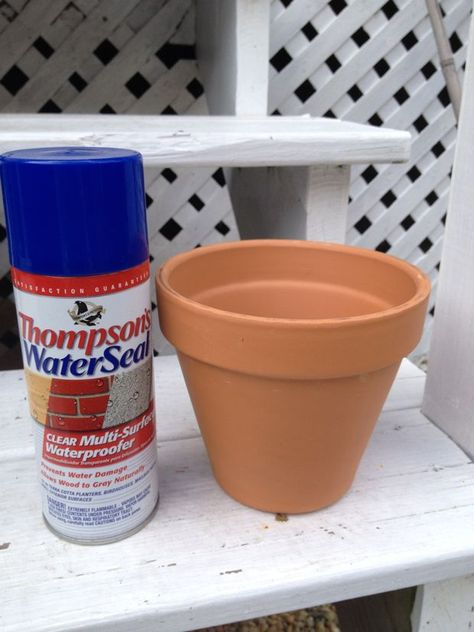 "How to Seal Terra Cotta Pots, birdhouses, mailboxes, pallet signs, plant markers and other ""outdoor decor"" I especially like Thompson's Clear Waterproofer to seal terra cotta pots from water damage. You can find is at Lowes and it runs around $4 a can. All you need to do is take a thoroughly cleaned and dry terra cotta pot and spray the interior with Thompson's Multi-Surface Waterproofer."
