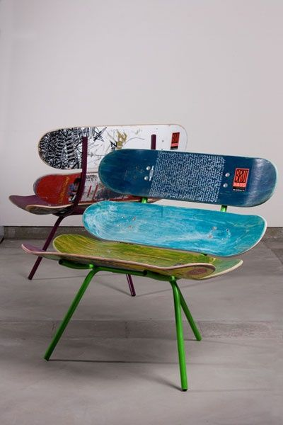 clever use of old skateboards. Could be done with snowboards   Repurpose    Pinterest   Snowboards, Skateboard and Room