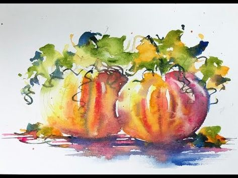 """Loose Beginners Pumpkin Pair - Andrew Geeson Loose Watercolours - painting - Loose Beginner """"Pumpkin Pair' Be brave and have fun just throw on the delightful colours and en - Watercolor Fruit, Watercolor Video, Fruit Painting, Autumn Painting, Watercolour Tutorials, Watercolor Sketch, Autumn Art, Watercolor Techniques, Watercolor Cards"""