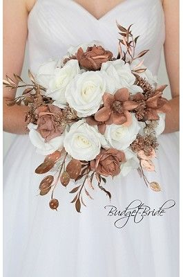 Rose Gold Flower Wedding Flower Brides Bouquet Rose Gold Wedding Flowers Gold Wedding Flowers Bride Bouquets