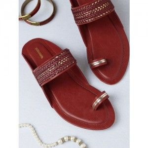 Anouk Red Woven Design One Toe Flats