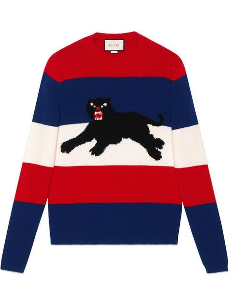 fe3d770f2 Comprar Gucci jersey con pantera en jacquard.