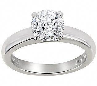 Diamonique 1 00 Cttw 100 Facet Solitaire Ring Platinum Clad Solitairerings Diamond Solitaire Engagement Ring Wedding Rings Solitaire Thin Rings Silver
