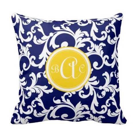 Navy Blue And Yellow Monogrammed Damask Print Throw Pillow Bedroom Unique Round Yellow Decorative Pillow