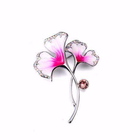 Textured Pink Ginkgo Leaf Brooch