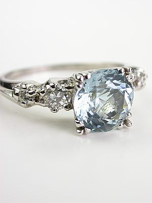 Vintage Platinum Aquamarine Engagement Ring RG3444 Aquamarines