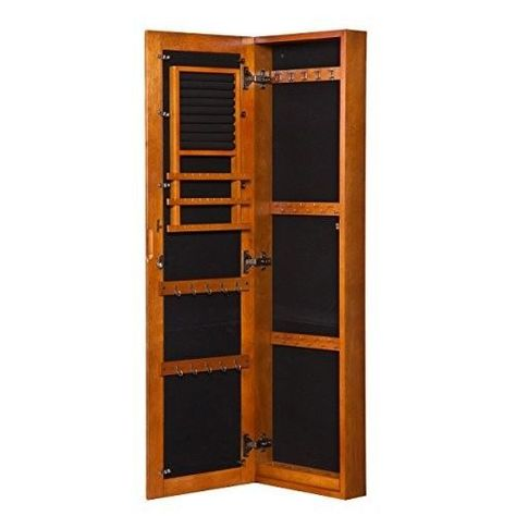 Hanging Jewelry Armoire Holder Wood Wall Mount Oak Organizer Cabinet