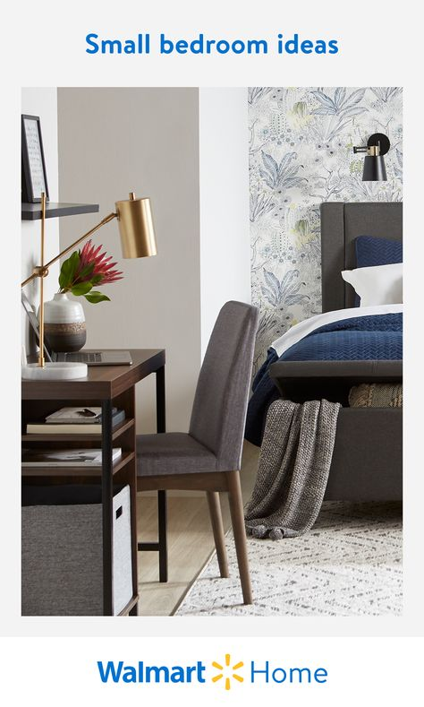 Transform a tiny bedroom into a cozy sanctuary with Walmart's stylish storage beds, tall dressers, clothing racks, and more. Find easy ways to maximize small spaces.  #WalmartHome