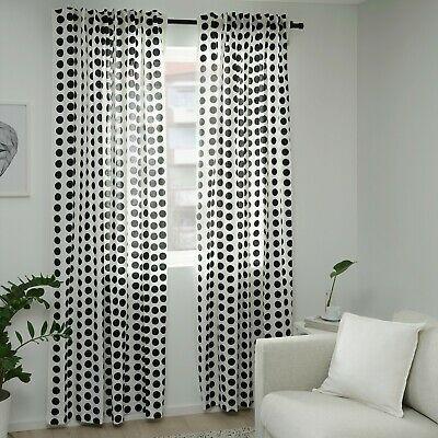 Ikea Klarastina Curtains 2 Panels 1 Pair 57 X 98 White Black Polka Dot New Ebay White Curtains Polka Dot Curtains White Curtains Bedroom