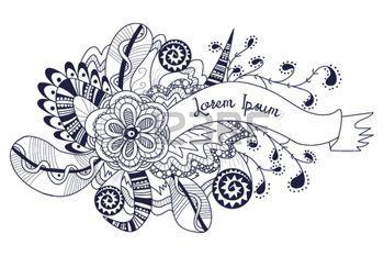 zentangle: Doodle de la bandera, dibujado a mano elemento de fondo. zentangle floral con cinta, flores, plumas. Perfecta para la tarjeta de felicitación, invitaciones, diseño de la bolsa, la plantilla de fondo. Ilustración del vector.