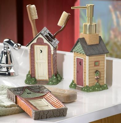 Linda Spivey Country Lodge Rustic Outhouse Whimsical Bath Toothbrush Holder