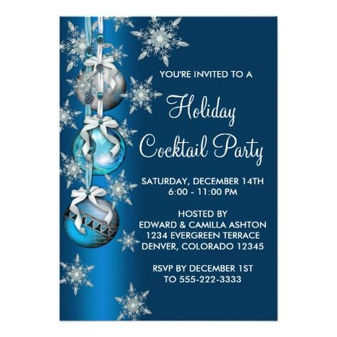 Blue Snowflakes Ornaments Christmas Party Custom Invites - holiday party invitation