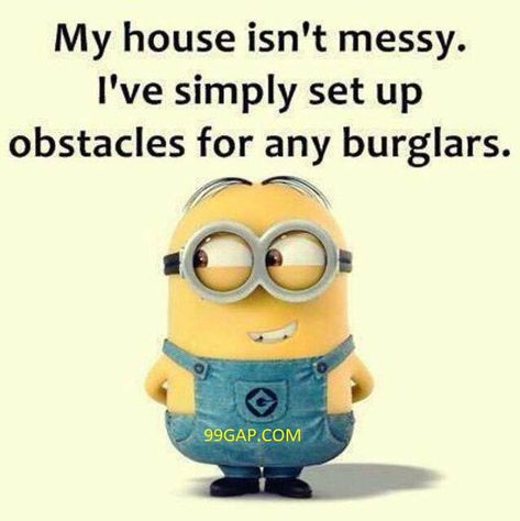 Funny Minion Meme About Burglars vs. Messy House