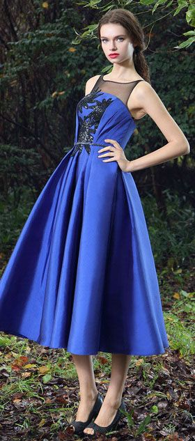 db042c496eb09 Blue Tea-length Party Dress with Lace Appliques (04170605) in 2019 ...