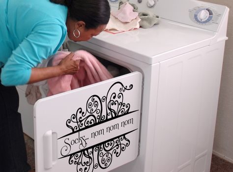 Funny and would be cute to add vinyl decor on washer/dryer. Cause you should smile while you're doing laundry, sometimes. :)