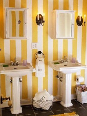 Scratches On The Walls Yellow Bathrooms Striped Wallpaper Bathroom Striped Wallpaper
