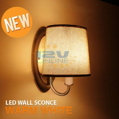 12v Led Brown Fabric Shade Wall Sconce Rv Auto Boat Bedroom Hall Interior Decor Hall Interior Fabric Shades Wall Sconces