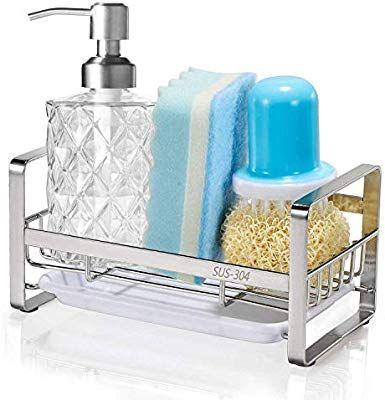 Amazon Com Hulisen Sponge Holder Kitchen Sink Organizer Sink Caddy Sink Tray Drainer Rack Brush So Kitchen Sink Organization Sink Caddy Kitchen Sink Caddy