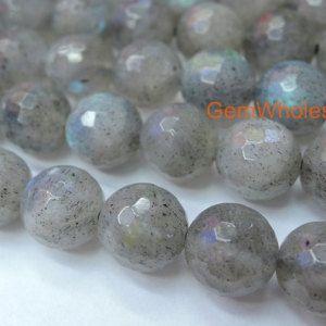 TEN BEADS 10 6mm Pale Grey Labradorite Gemstone Smooth Round Beads