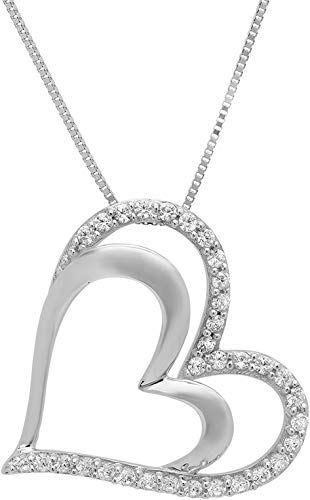 Clara Pucci 0.15 CT Brilliant Round Cut 3-Stone 14K Yellow Gold Solitaire Pendant Box Necklace 16 Chain