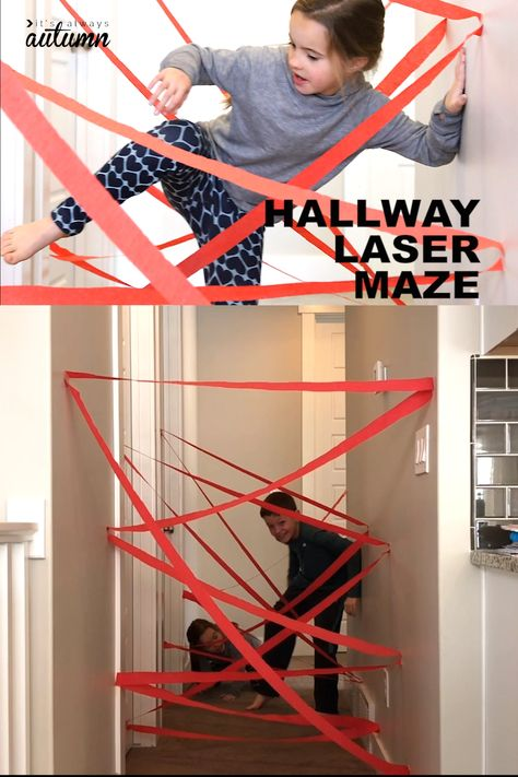 Use a roll of crepe paper to make a cool laser maze in your hallway! Fun indoor play idea for kids. Use a roll of crepe paper to make a cool laser maze in your hallway! Fun indoor play idea for kids. Indoor Activities For Kids, Home Activities, Toddler Activities, Summer Activities, Family Activities, Movement Activities, Kids Party Games Indoor, Activities For 5 Year Olds, Kids Indoor Play