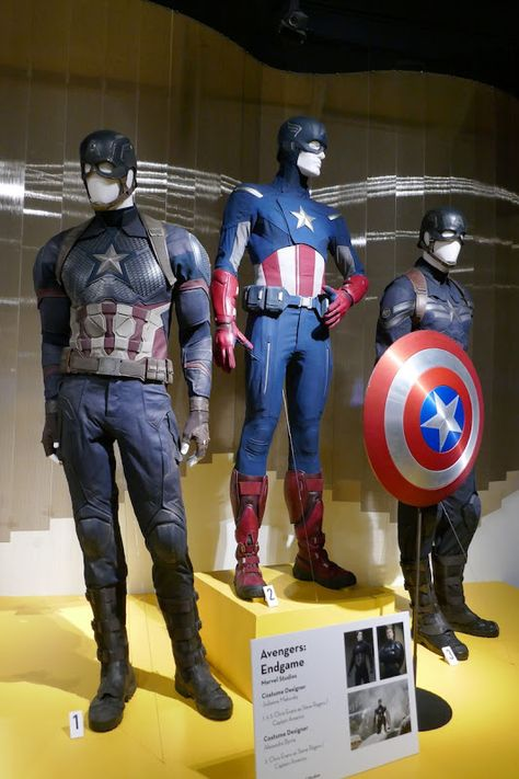 Captain America costumes from Avengers: Endgame on display...