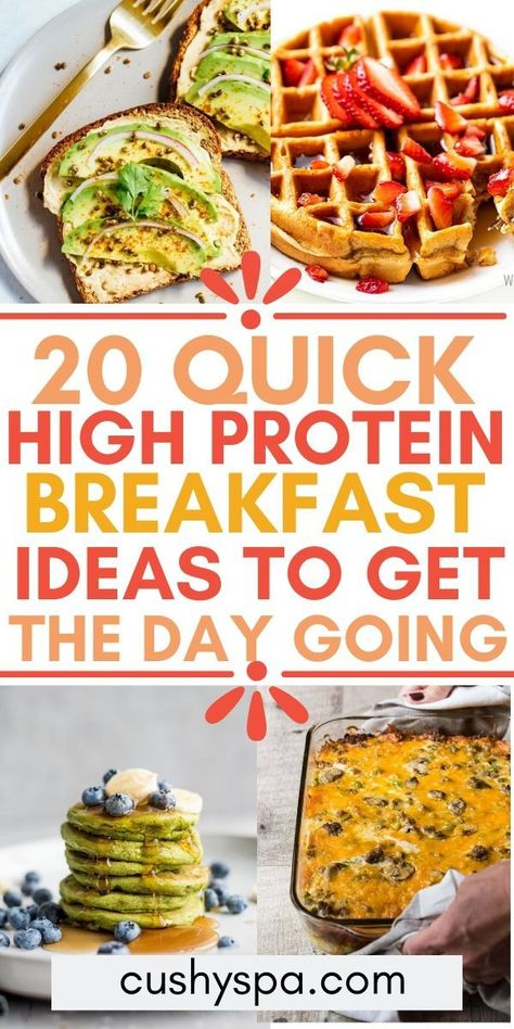 Start the day off right with a delicious high protein breakfast that will keep you full and give you energy. These healthy breakfast recipes are quick for early mornings and great if you're on a high protein diet. High Protein Snacks, Quick High Protein Breakfast, High Protein Vegetarian Recipes, Healthy Breakfast Recipes, Protein Foods, Healthy Meals, Healthy Recipes, Baby Recipes, Dinner Healthy