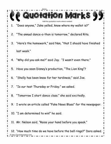 Quotation Worksheets 4th Grade Quotation Marks Worksheet Worksheets Quotation Marks Quotation Marks Worksheet Punctuation Worksheets Identifying genre worksheets