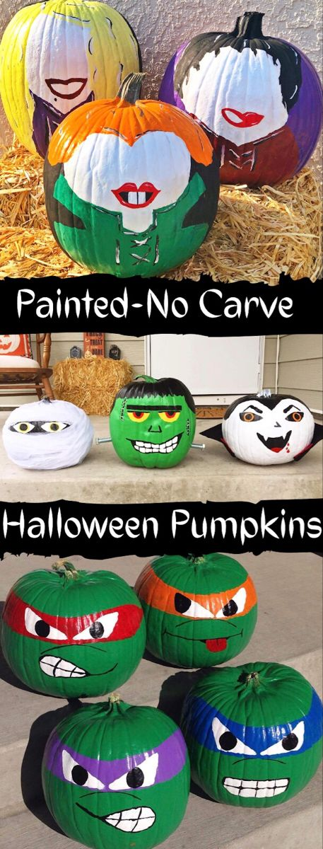These no carve Hocus Pocus, Monsters, and TMNT (Ninja Turtle) painted pumpkins are perfect for the spooky Halloween season. Just get some paint and have fun! Painted Halloween Pumpkins, Painted Pumpkins, Spooky Halloween, Halloween Decorations, Pumpkin Painting, Pumpkin Stencil, Diy Painting, Ninja Turtle Pumpkin, Minion Pumpkin