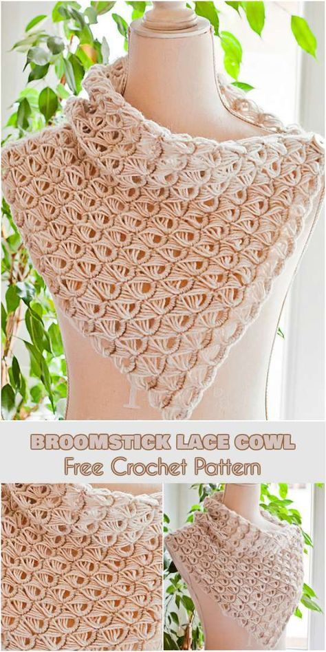 Crochet Stitches For Beginners Broomstick Lace Cowl Free Crochet Pattern Broomstick Lace Crochet, Poncho Au Crochet, Crochet Scarves, Crochet Clothes, Free Crochet, Crochet Cowls, Crochet Stitches Patterns, Crochet Designs, Knitting Patterns