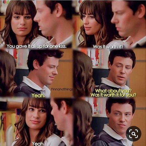 Glee Rachel Berry and Finn Hudson Scandal Quotes, Glee Quotes, Tv Quotes, Scandal Abc, Glee Rachel And Finn, Finn Glee, Lea And Cory, Finn Hudson Glee, I Need Vacation