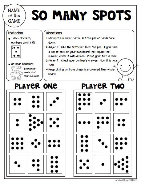 "Sample Math Game from ""Math Games for Kinder Partners"" {20 Reproducible and Reusable Partner Games for Math Workshop, Centers, and/or Homework Fun with a Parent}  36 pages, $  #mathgames  #subitizing  #homework"