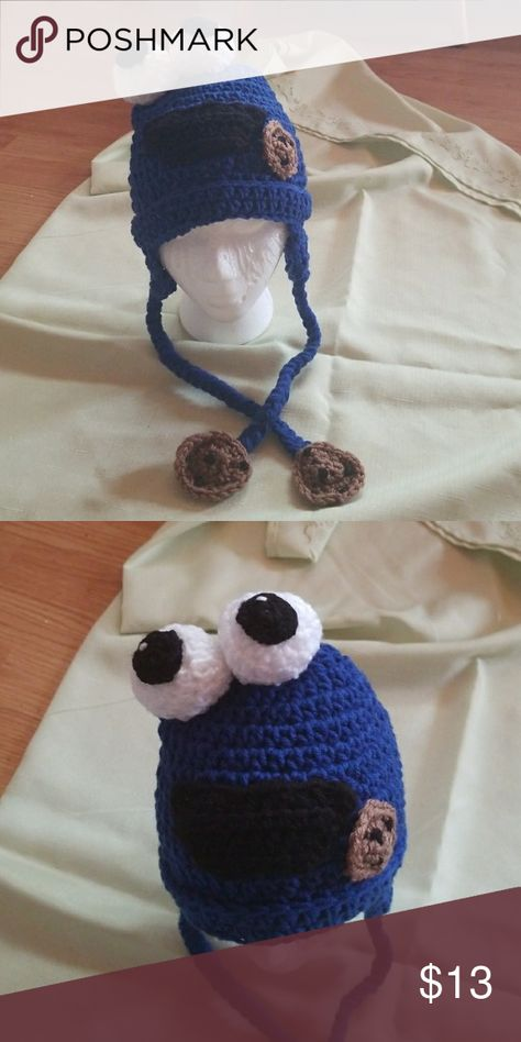 4fbcc59984f Character hats Homemade cookie monster crocheted hat.....notice the hanging  cookies on the straps Accessories Hats