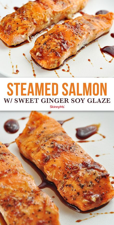 Need to change up your salmon cooking techniques? Try this easy and simple Steamed Salmon with Sweet Ginger Soy Glaze Recipe! Steamed Salmon Recipes, Steamed Veggies Recipe, Steamed Food, Steamed Shrimp, Healthy Dinner Recipes, Cooking Recipes, Skinny Recipes, Healthy Tips, Healthy Foods
