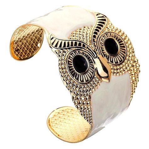 White Cuff Bracelet/owl cuff/gold owl cuff/gold by ExoticBangles $4.99