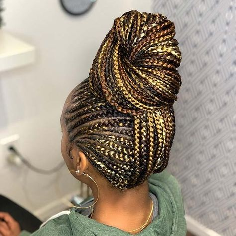 Top 60 All the Rage Looks with Long Box Braids - Hairstyles Trends Box Braids Hairstyles, Braided Ponytail Hairstyles, Try On Hairstyles, My Hairstyle, Black Girls Hairstyles, Braided Buns, Hairstyles Pictures, Hair Ponytail, Messy Buns