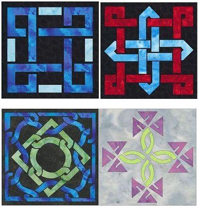 Easy Celtic Knot 4 Quilt Block Set Quilt Applique Patterns Designs (set 1)
