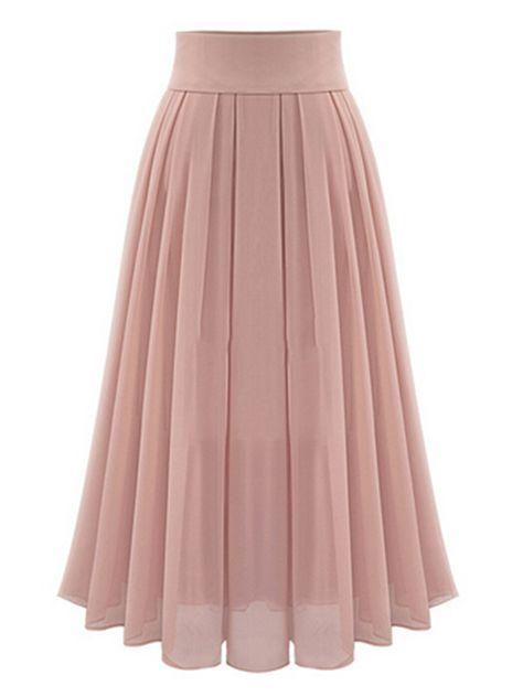 Pink High Waist Overlay Chiffon Skirt | abaday