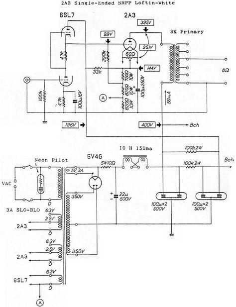 6SL7 CPSR / 2A3 Loftin-White tubo amplificador Schematic