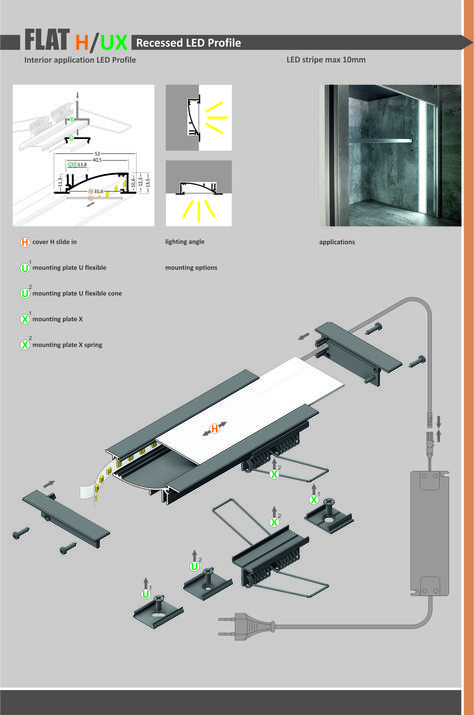 Flat Led Profile Recessed Led Profile Made Of Anodized Aluminum Applications Walls Wardrobes đen Led Kỹ Thuật đen