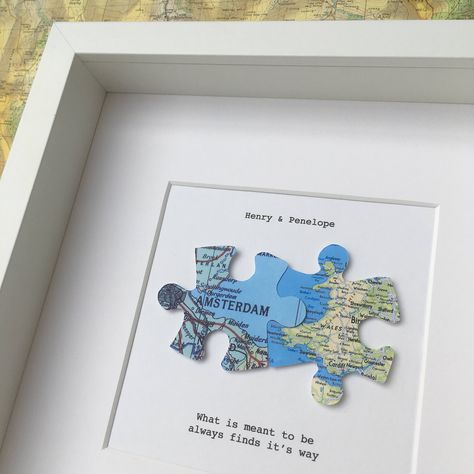 Jigsaw puzzle personalised maps  - long distance relationship - gift for him - wedding love map art - you complete me - UK and world maps