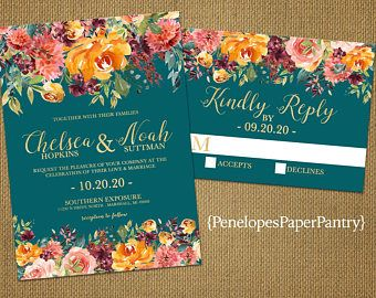 Teal Fall Wedding Invitation Burgundy