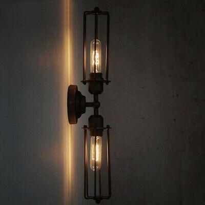 Details About Industrial Vintage Iron Tubular Cage Wall Sconce Black Led Metal Wall Light Lamp Deco