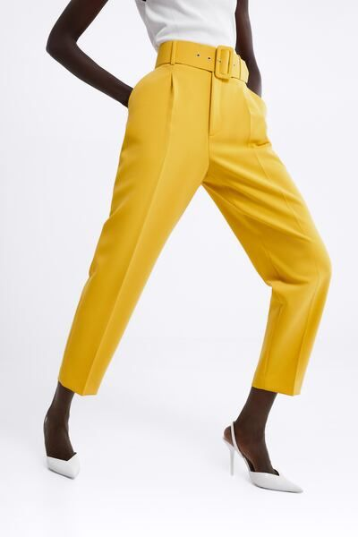 Ladies Flared Full Length Trousers Leg Buckle Front Wide Smart Spring Pants Belt