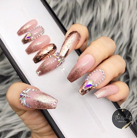 Rose Gold Bahamas Soph Pink Nude and Rose Gold Foil Ombre image 1