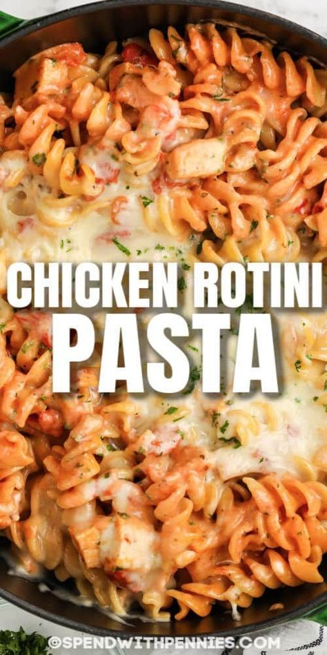 Learn how to make Rotini Pasta in just one pot! Chicken, pasta and cheese are baked with a creamy tomato sauce for a one-pot meal that is crazy good! #spendwithpennies #rotinipasta #entree #recipe #pasta #chicken #cheesy #easy #italian #skillet #baked