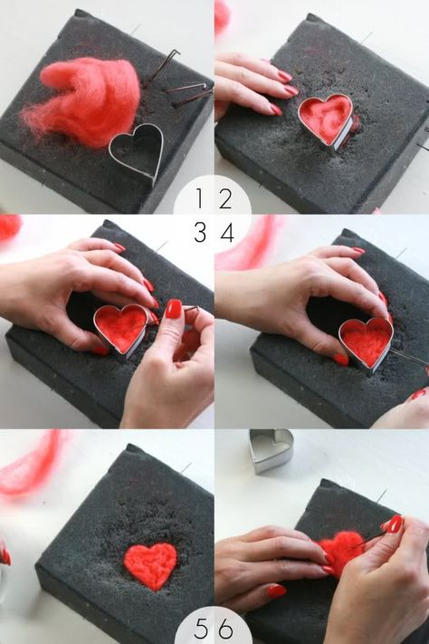 How To: Needle felt Heart Garland using cookie cutters