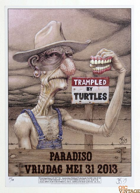 Trampled by Turtles Poster 2013 May 31 Paradiso John Seeanbury Signed