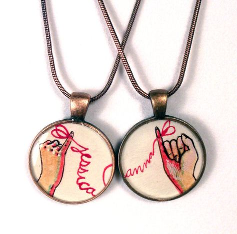 best friend necklace set, personalized friendship necklaces, red string of fate. $40.00, via Etsy.